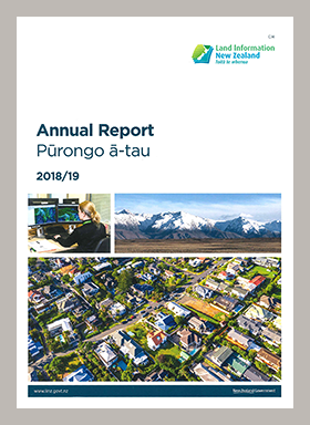 Front cover of the LINZ Annual Report Pūrongo ā-tau 2018/19