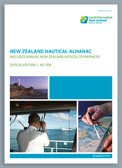 Front cover of the New Zealand Nautical Almanac 2019/20 edition