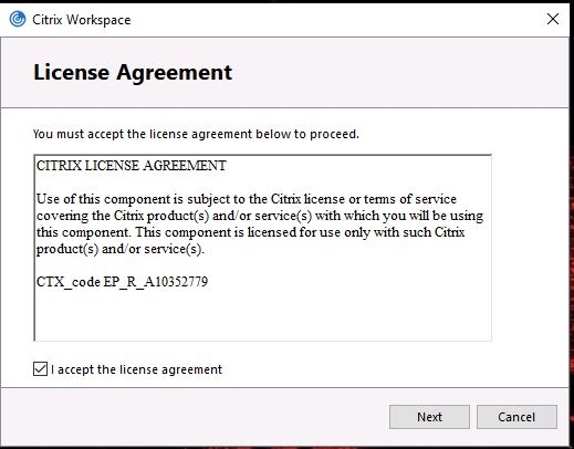 Screenshot showing License Agreement with 'I accept the license agreement' ticked