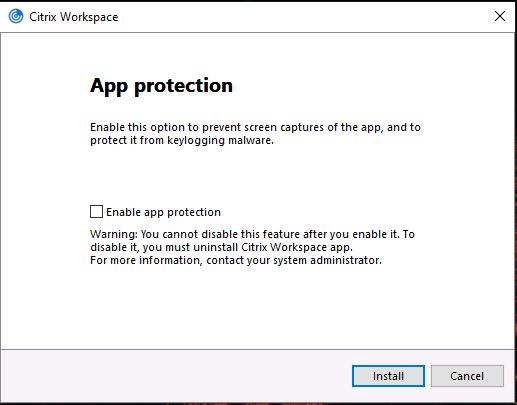 Screenshot showing App protection screen showing 'Enable app protection' option unticked