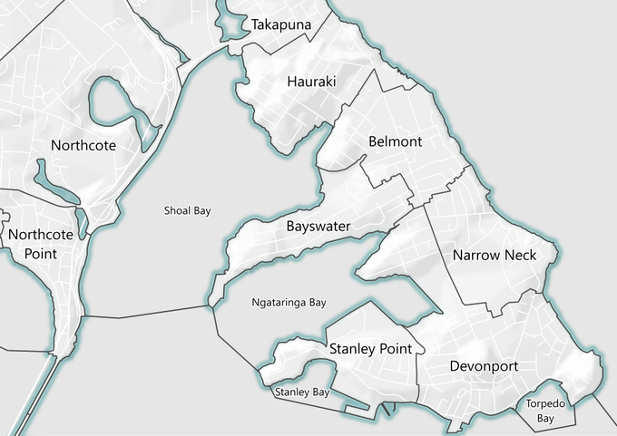 Map showing suburbs and bays from Takapuna and down to Devonport, and as far east as Northcote