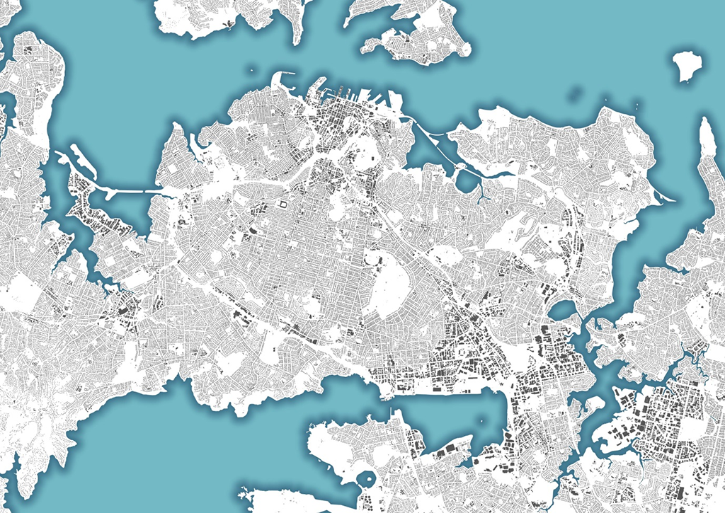 Image of Auckland produced using NZ Building Outlines data