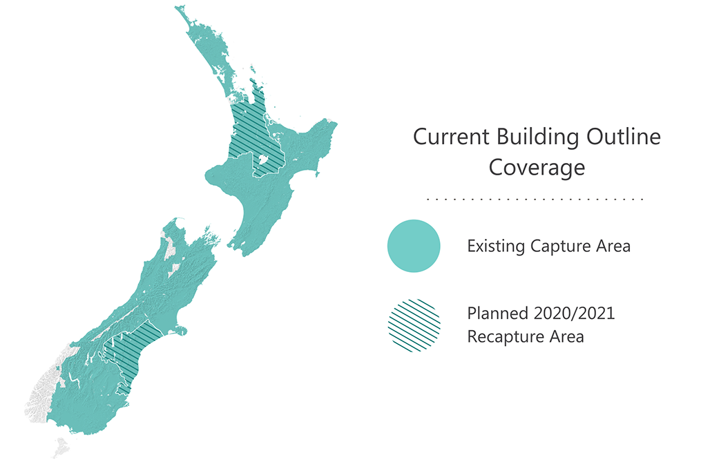 Map of New Zealand indicating current building outline coverage as well as work planned for 2020/21