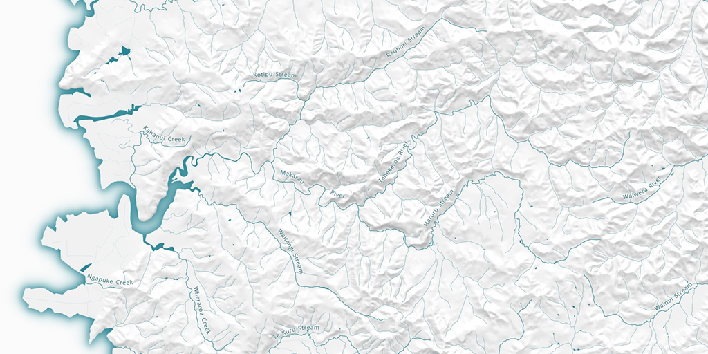 LDS imagery showing a topographic map produced using the NZ River Names dataset