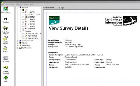 Screenshot of the View Survey details window, showing exception raised