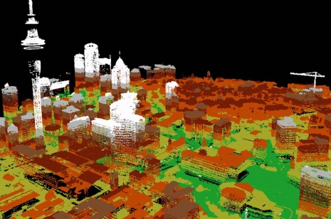 LiDAR point cloud images of central Auckland including Sky Tower