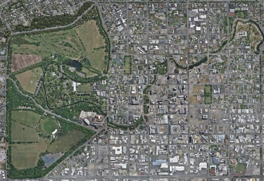 Aerial photograph of central Christchurch dominated but Hagley Park