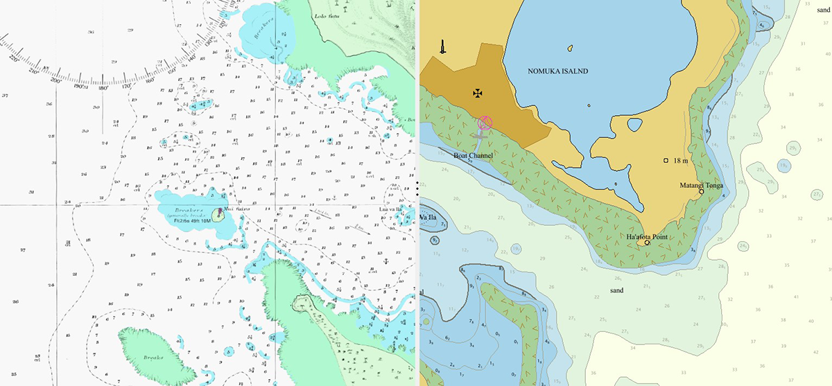 A composite chart of Nomuka Island's south-west coast showing the original late-1800s chart marked with fathoms (left) and the 2020 electronic nautical chart