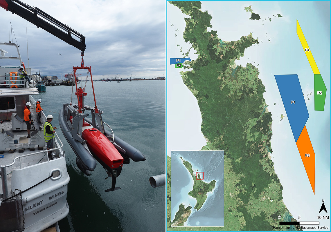 Image of survey equipment being lowered into the water from the boat MV Silent Wings, alongside a map of the North Island showing survey areas around the Coromandel