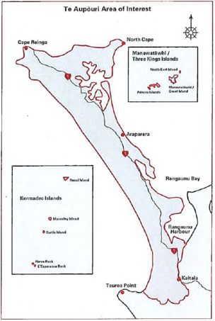 Map showing the area of interest referred to in the Deed of Settlement between Te Aupouri and the Crown.
