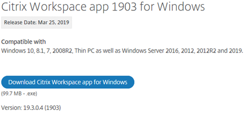 Screenshot showing download button in Citrix Workspace app for Windows
