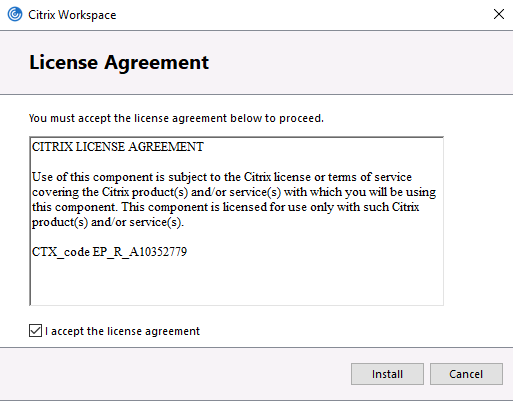 Screenshot of License Agreement in Workspace app, with 'I accept the license agreement' selected
