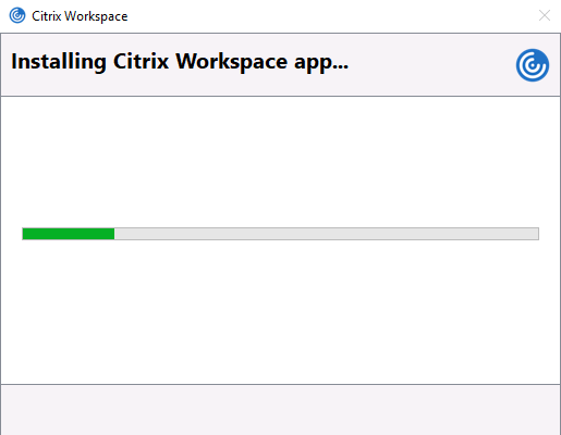 Screenshot showing loading screen of Citrix Workspace installer