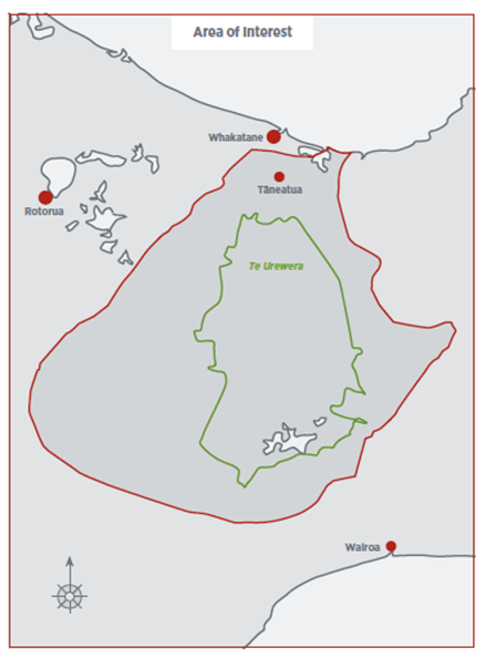 Map showing the area of interest referred to in the Deed of Settlement between Tūhoe and the Crown.