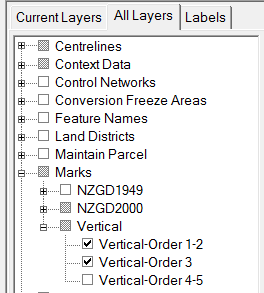 Screenshot showing 'Vertical-Order-1-2' and 'Vertical-Order-3' selected in Landonline