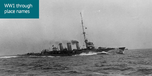 British cruiser HMS Arethusa at speed, 1914.