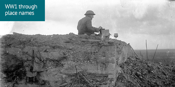 Unidentified New Zealand World War 1 signaller on a German dug-out, Gallipoli Farm, Belgium, 12 October 1917