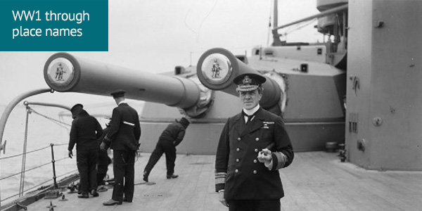 Vice Admiral Sir Doveton Sturdee, Flag Officer Commanding the 4th Battle Squadron, on board HMS HERCULES