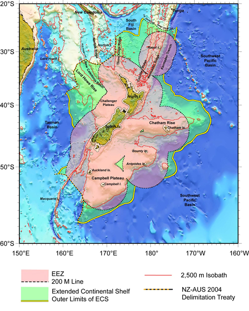 Boundaries for NZ Exclusive Economic Zone - small