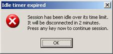 Error Message - Idle Timer Expired