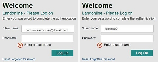 Screenshot of log on field, with name missing as well as entered