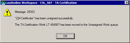 Alert message 29353 - certificate has been unsigned successfully  (screenshot)