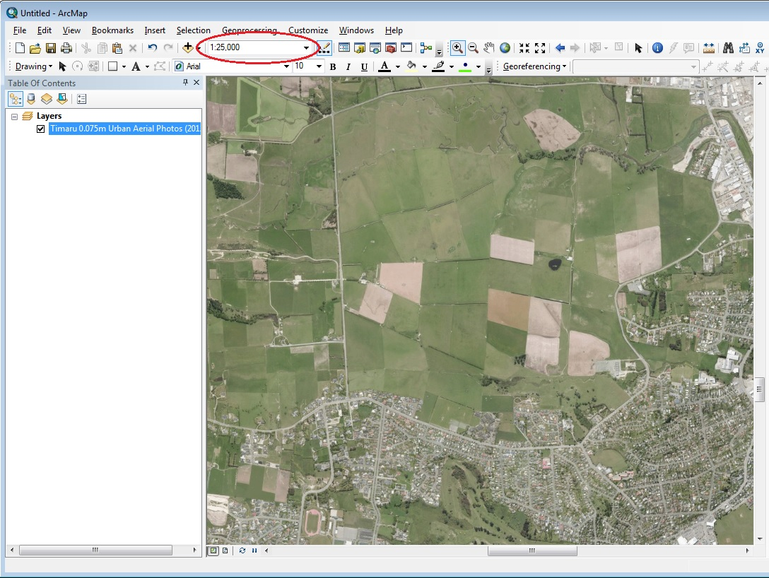 Screenshot of ArcMap with scales input highlighted