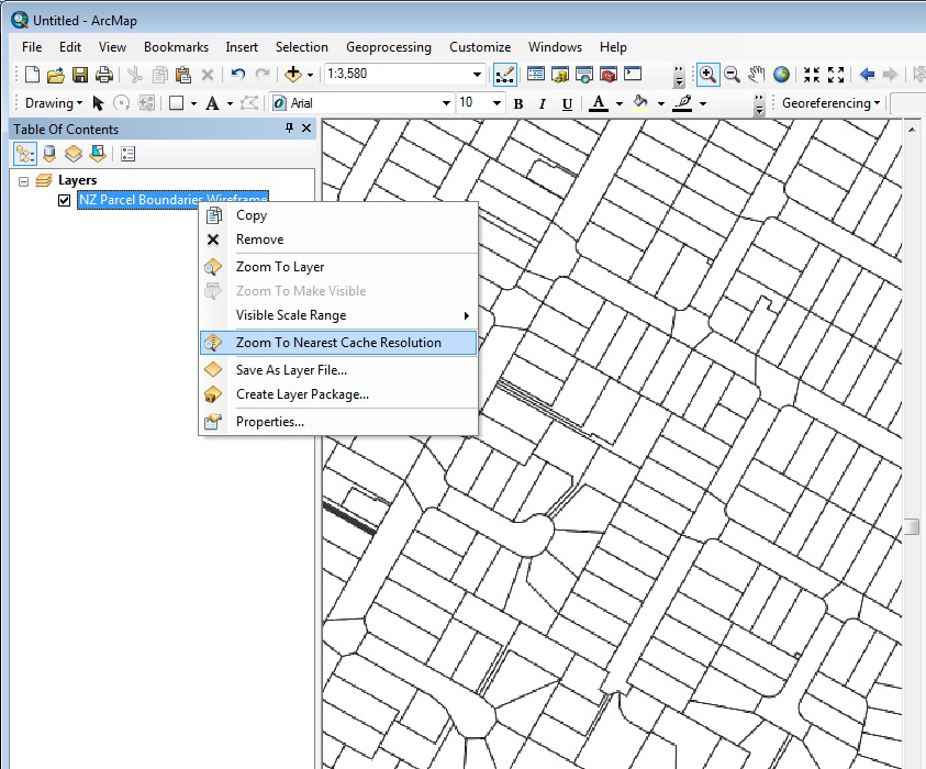 Screenshot of Zoom to Nearest Cache resolution function in ArcMap