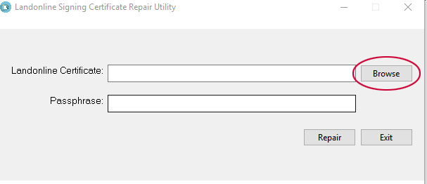 Screenshot of 'Browse' button in Repair Utility