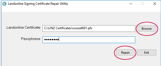 Screenshot of 'Passphrase' field in Repair Utility
