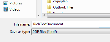 Screenshot of download interface showing 'RichTextDocument' as default name