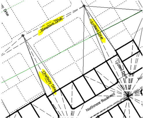 All the road names highlighted in yellow below are all contained within 1 polygon