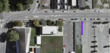 Aerial view of the land earmarked for the Canterbury Multi-use Arena, highlighted in purple