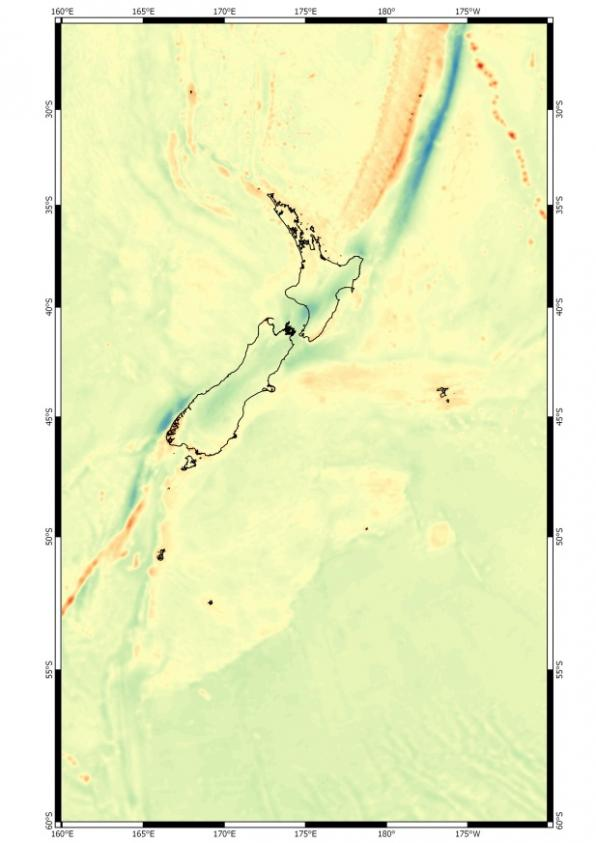 Bouguer gravity field map for New Zealand