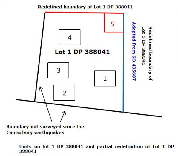 Diagram showing units on lot 1 DP 388041 and partial redefinition of lot 1 DP 388041