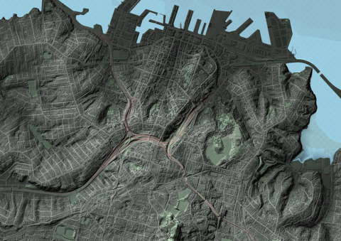 Visualisation of 1m LiDAR derived DSM, colour-enhanced