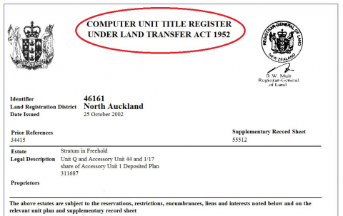 Screenshot of Computer Unit Title Register, highlighting the old name used in LTA 1952
