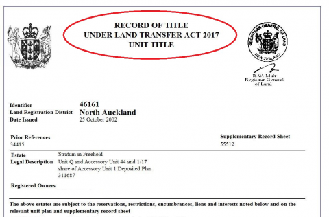 Screenshot of Record of Title, highlighting the name used in LTA 2017