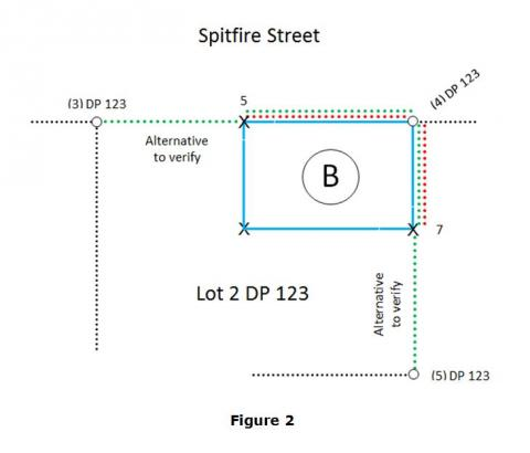 Diagram of lot boundaries by Spitfire Street