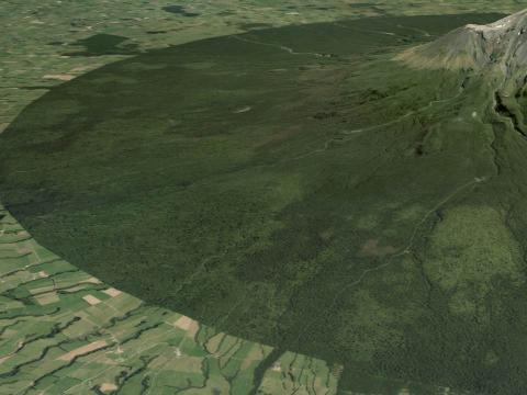 image of Mount Taranaki created using aerial imagery and elevation data.