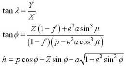 Equation to convert cartesian coodinates into geographic coordinates