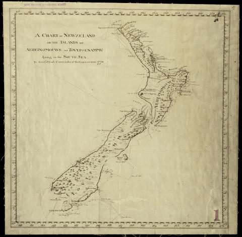 Chart of New Zealand, by Captain Cook, 1770