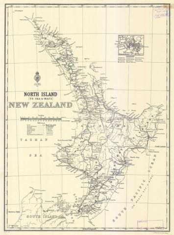 Map North Island Of New Zealand.Examples Of Historic Maps And Charts English And Maori Names For