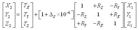 Seven parameter transformation equation