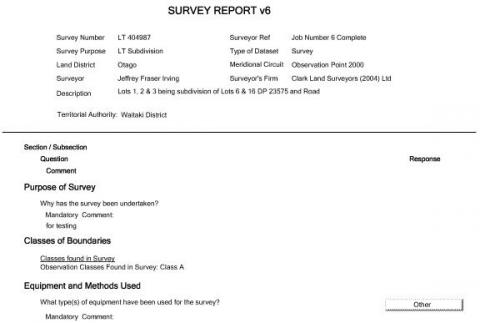 Automated Survey Report  Land Information New Zealand Linz