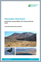 Cover page of the discussion document 'Enduring stewardship of Crown pastoral land'
