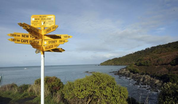 Place name signpost at Stirling Point