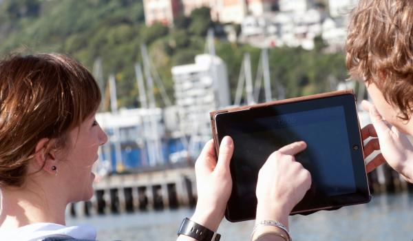 Data in use on a mobile device at the Wellington waterfront