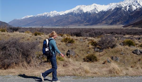 Person walking in New Zealand