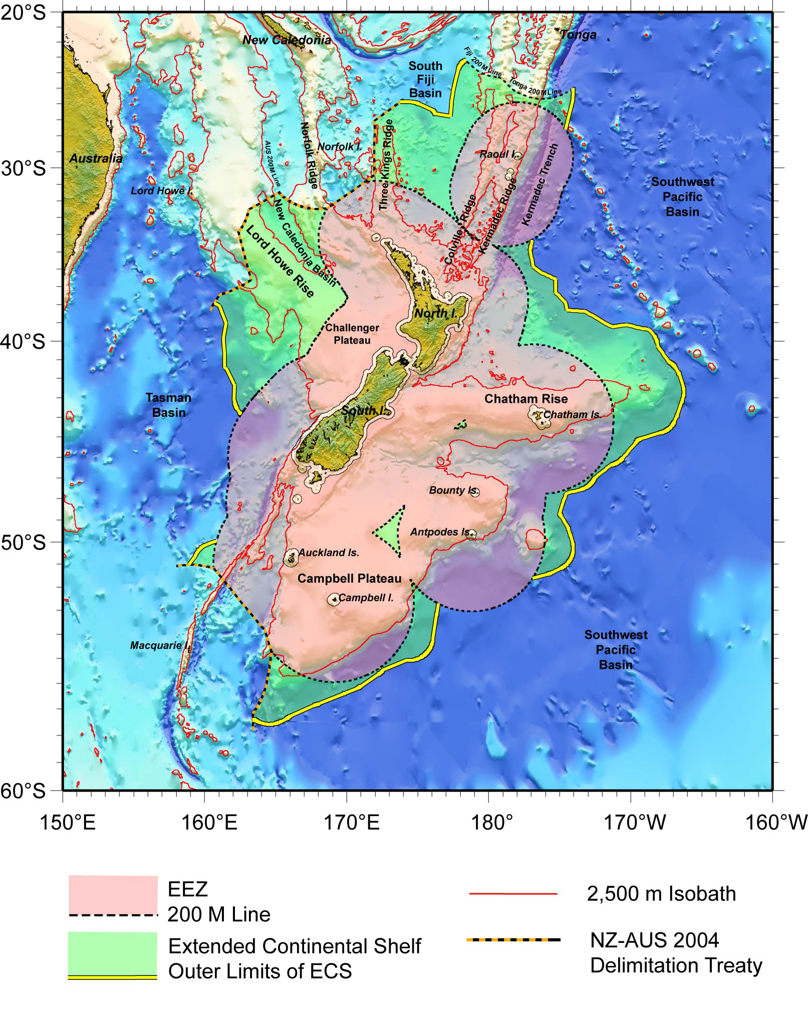 Map Of The Continental Shelf Boundary Land Information New - Us eez map